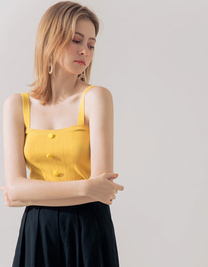 All-Match Square Neck Button Top