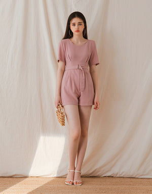 Plain Round Neck Creased Waist Belted Playsuit
