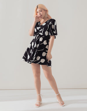Printed V-neck Drawstring Dress