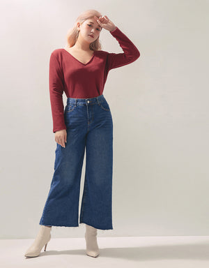 2Way Crop Long Sleeve Knitted Top