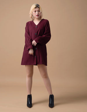 Comfy V-neck Button Belted Dress