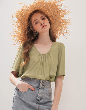 Casual Hollow Back Ribbon Top