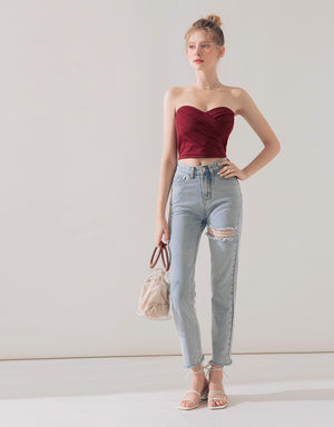 Crossover Heart Neckline Tube Top