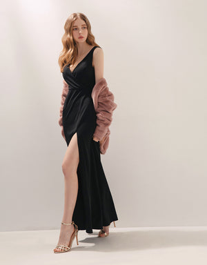 Elegant Deep V-Neck Slit Sleeveless Gown