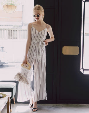 STRIPED JUMPSUIT WITH OPEN BACK