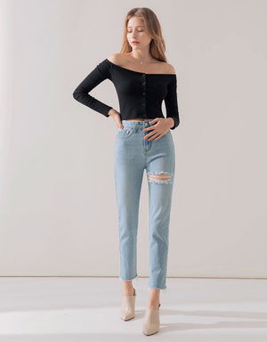 Off Shoulder Ribbed Buttoned Crop Top