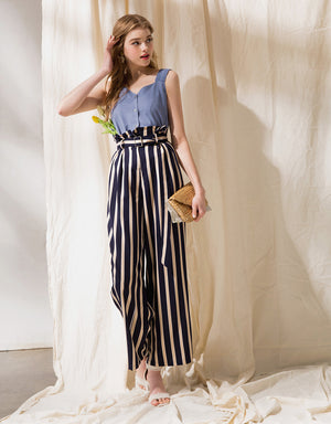Contrast Striped Belted Paperbag Pants