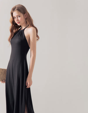 Halter Neck Slit Maxi Dress