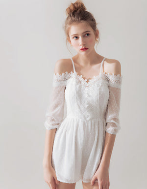 Lace Trim Off Shoulder Playsuit
