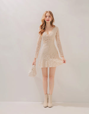 V-Neck Scrunch Lace Ruffle Mini Dress