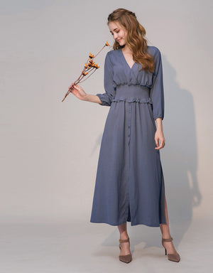 Shirred Waist Balloon Sleeve Chiffon Dress