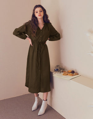 V-Neck Drawstring Ribbon Buttoned Long Sleeve Dress