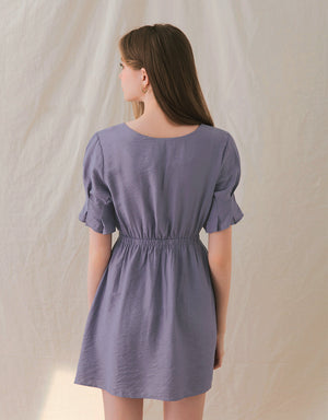 V-Neck Buttoned Flower Bud Sleeves Dress
