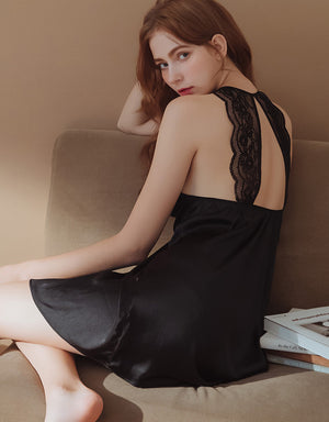 Lace Back Splice Satin Slip