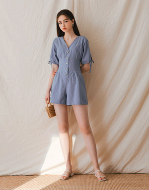V-Neck Button Up Creased Waist Playsuit