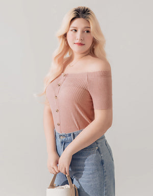 Off Shoulder Button Knit Top
