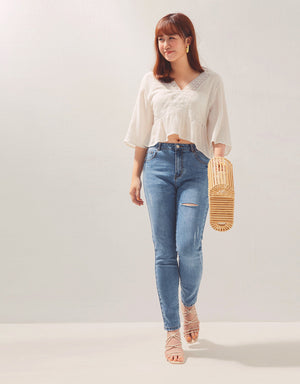 V-Neck Lace 3/4 Sleeve Linen Top