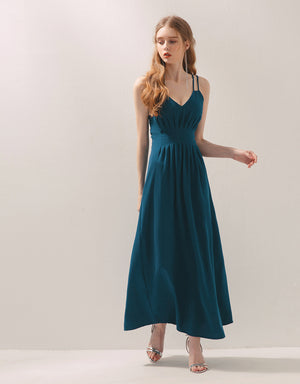 Double Strap Shirred Maxi Dress