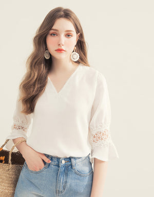 V Neck Carved Splice Long Sleeve Blouse