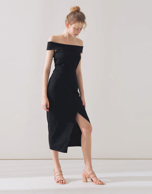 Off Shoulder Slit Skirt Set Wear