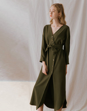 Button Up Ribbon Slit Maxi Dress