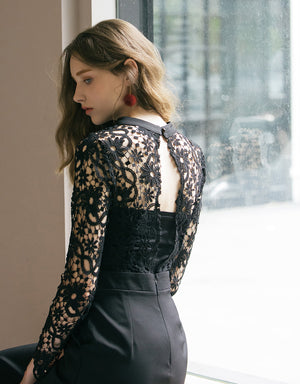 Transparent Jacquard Lace Hollow Back Jumpsuit (with Bralette)