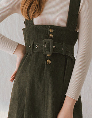 Corduroy Button Suspender Midi Belted Dess