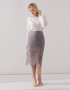 Romantic Eyelash Lace Side Slit Midi Skirt