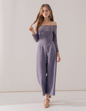 Romantic Eyelash Lace Off Shoulder Splice Jumpsuit