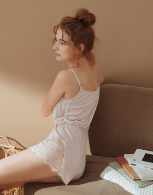 Lace Split Cotton Cami Pajamas