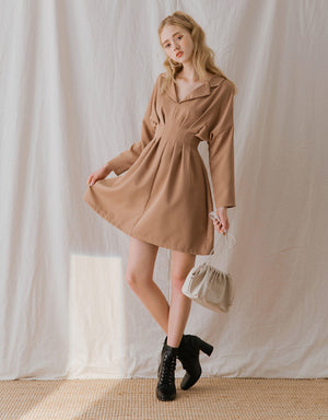 Lapel Collar Pleat Waist Long Sleeve Dress