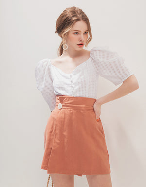 MINIMALIST HIGH WAISTED A-LINE WRAP SKIRT