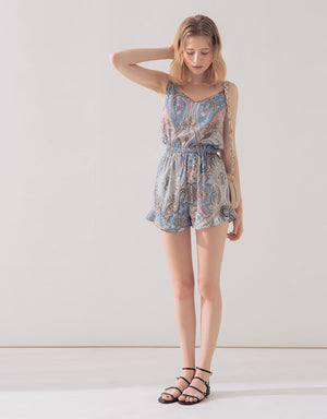 Paisley Print Thin Strap Playsuit