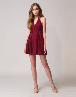 Pearl Round Neck Lace Flare Dress