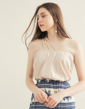 One-shoulder Strappy Flare Top