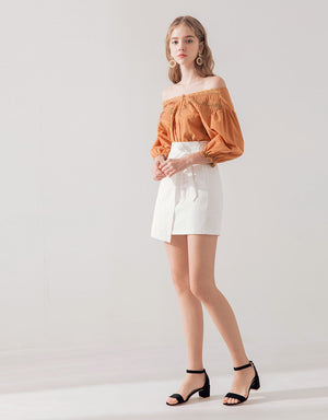 Tailored Off Shoulder Button Top