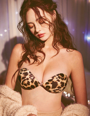 Leopard Print Front Buckle Push Up NuBra