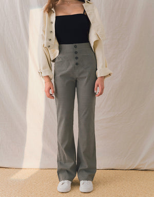 Plaid High-Waisted Buttoned Slightly Trumpet Pants