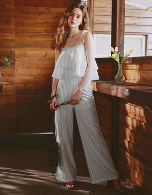 Thin Strap Ruffle Pinstripe Set Wear