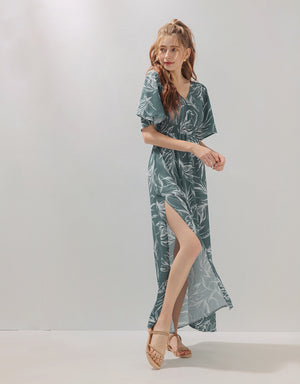 Tropical Print V-Neck Chiffon Slit Maxi Dress