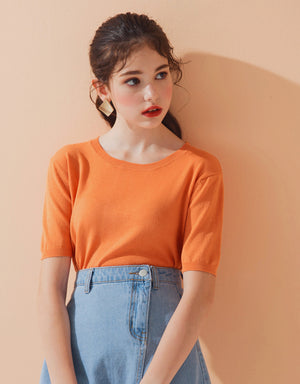 Round Neck Knit Crop Top