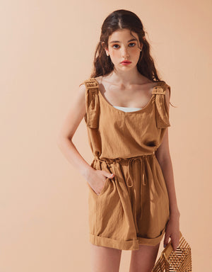 Thick Strap Drawstring Playsuit