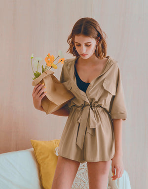 Industrial Style Asymmetrical Button Cinched Waist Playsuit