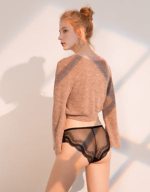 Mesh Brief Panty with Scallop Hem