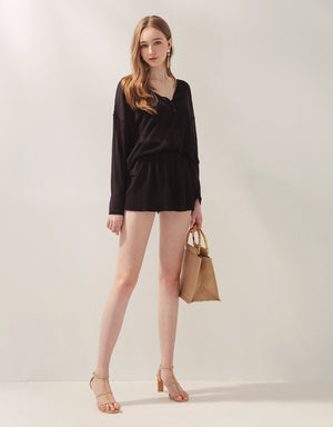 Comfy Translucent Button Top & Shorts Set Wear
