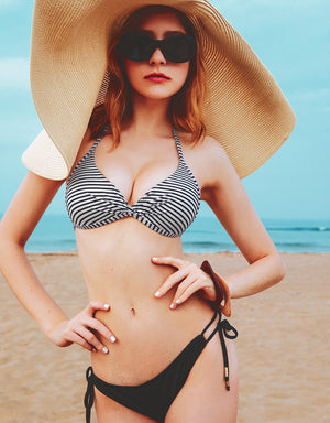 Printed Front Twist Bikini Swimwear Top + Free Body Jewelry