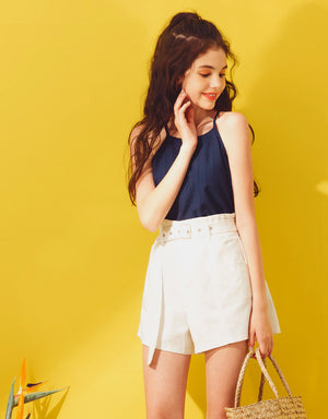 High Waisted Textured Belted Shorts
