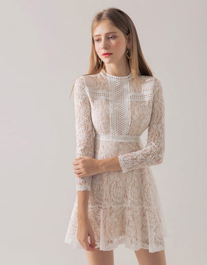 Round Neck Broderie Lace Dress