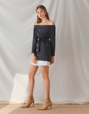 Off Shoulder Splice Striped Belted Dress