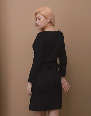 Front Split Long Sleeve Ribbon Cotton Dress
